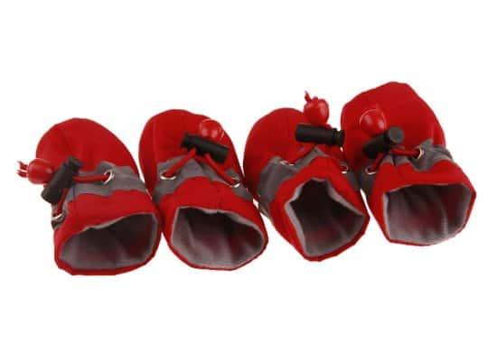 Hondenschoenen Met Gripzolen Waterbestendig - Dierenkleding - Rood - 4 st