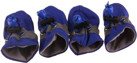 Hondenschoenen met gripzolen, elastische sluiting en waterbestendig - 4 stuks.- Blauw