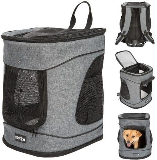 CADOCA Huisdierenrugzak met klep, zakken, riem en riem in de taille