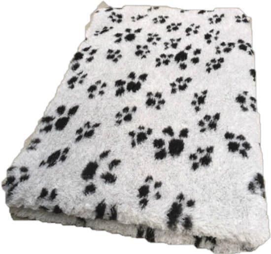 Vetbed Dierenmat Hondendeken Grijs met Zwarte Voetprint Latex Anti Slip 100x75cm