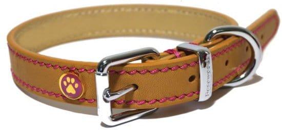 Rosewood Luxury Leren Halsband Hond - Zand - 1,3x25x36 cm