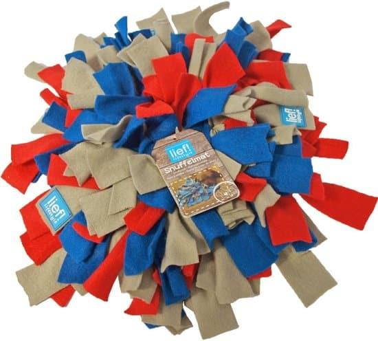 Lief! Snuffelmat Fleece - Taupe/Blauw/Rood - 20 x 20 cm