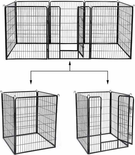 MaxxPet Hondenren - Puppyren met 8 Kennelpanelen - Staal - 80 x 100 cm - Ø 210 cm