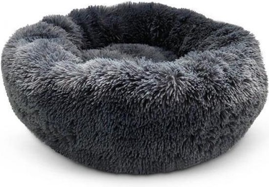 Snoozle Hondenmand en Kattenmand - Superzacht en Luxe - Wasbaar - Donut - Fluffy - Hondenkussen - 50cm - Grijs